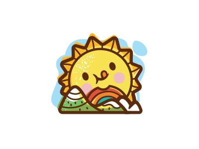Sunshine & Lollipops playful rainbow mountains cute symbol colorful happy mark goods identity baby logo illustration