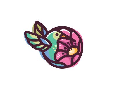 Colibri character mascot cute icon branding nature flower animal colibri logo illustration