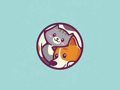 Cat & Dog cute colorful branding logo mark brand animal love rescue cat dog shelter