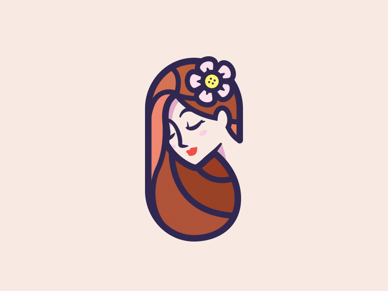 woman with a flower in her hair beauty brand logo