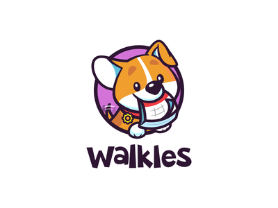 Walkles care mascot management funny cute animal pet cartoon mark funny business customer website tool software app dog walk waggle logo branding mark