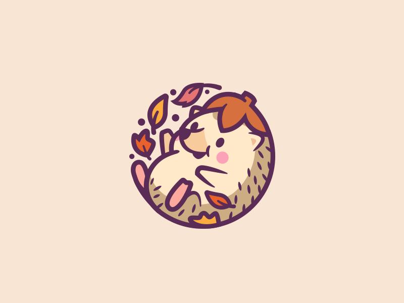 Hedgehog character brand fun illustration identity nature logo mark smile leafs happy hedgehog animal cute