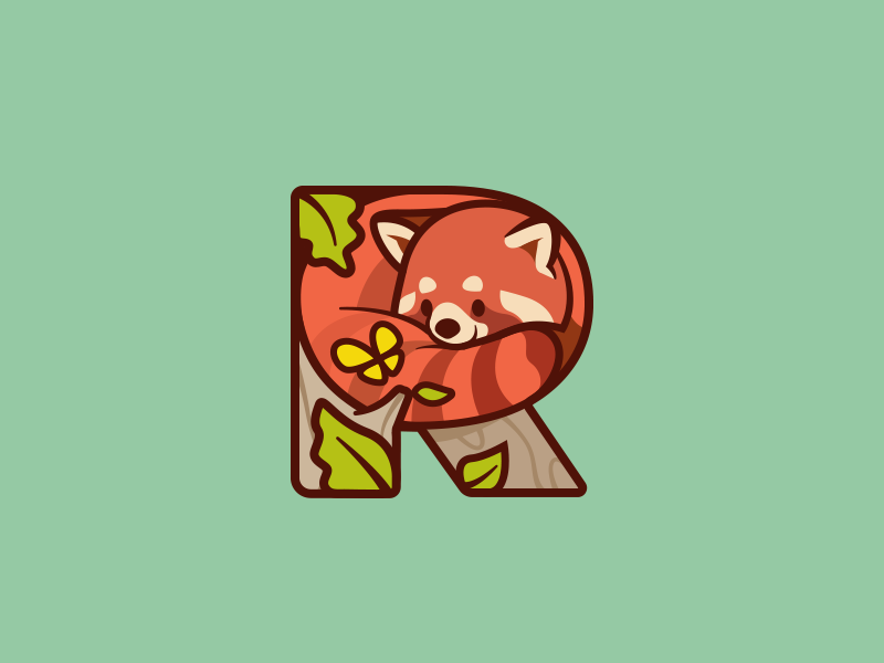 Red Panda mascot nature animal character happy cute smile icon mark branding illustration red panda logo