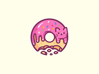 Donut Cat mascot friendly character happy brand smile colorful cute fun mark symbol identity cat logo donut