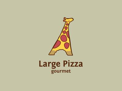 Large Pizza illustration logo