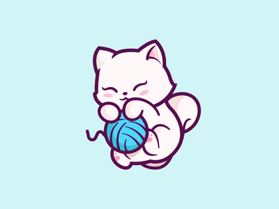 Cat! animal character friendly cartoon fun identity illustration blue branding mark mascot playful happy cute cat logo ball yarn