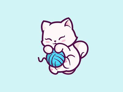 Cat! animal character friendly cartoon fun identity illustration blue branding mark mascot playful happy cute cat logo ball yarn