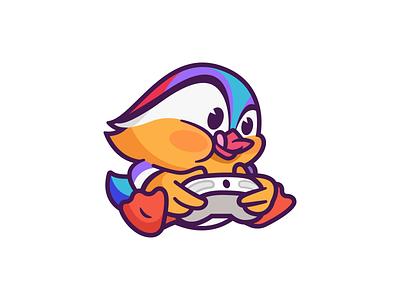 Mandarin identity play funny cute character mascot fun colorful game friendly mandarin duck vector illustration icon logo
