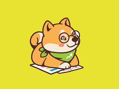 Shiba Inu sheet earn financial character identity brand shiba inu fun smart numbers cartoon mobile cute branding app animal dog logo illustration