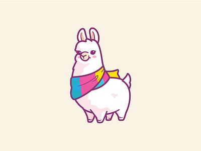 Llama Prints cartoon cartoonish alpaca brand branding identity fluffy happy printing character cute fun friendly color cute llama logo illustration print