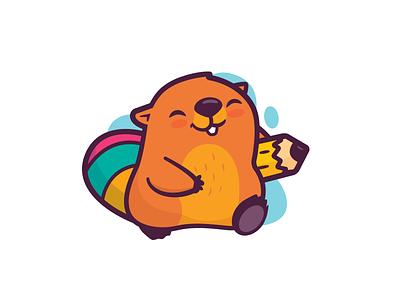 Bevis Works learning workshop cartoon happy study illustration kid smile fun identity cute child beaver brand logo