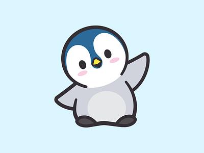 Baby Penguin friendly icon fun cartoon illustration waving cold ice snow logo sticker happy animal brand branding