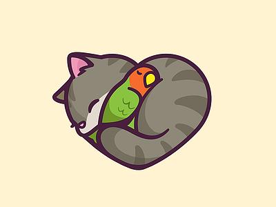 Cat & Bird kittie sleeping parrot cartoon sleep rest resting character animal nap pet love heart illustration cute mascot cat bird logo
