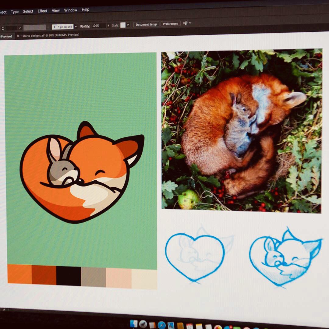 Fox & Bunny sleep sleeping nap smile fox bunny heart love branding cute logo illustration cartoon