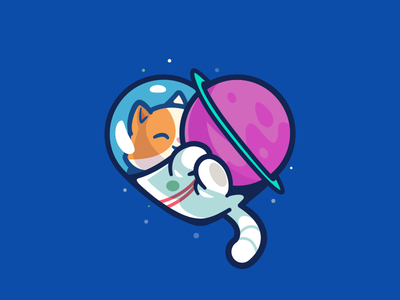 Space cat cat hug character fun planet space illustration cute smile logo illustration outline cute branding brand animal love planet