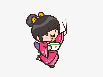 Ichiban Ramen heart outline kawaii funny bowl identity brand logo fun joy illustration food restaurant cute ramen kimono girl