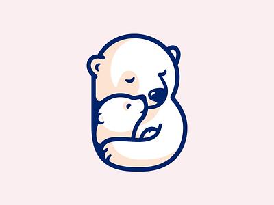 Polar Love badge letter cute smile b child children vector branding illustration mom icon nature animal polar love logo
