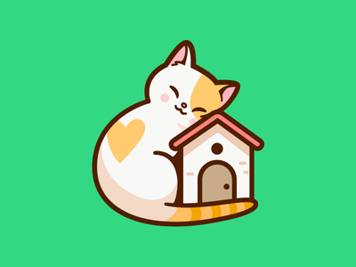Cat Shelter adopt friend animal cute love home branding brand illlustration cat shelter logo