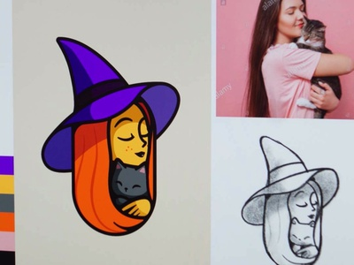 Halloween 🎃 👻 beauty kitty friendly party outline smile love branding brand smile cat illustration october witch logo cute