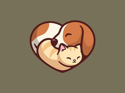 PetPals heart shape icon web service cute app home love dog cat adopt logo illustration brand