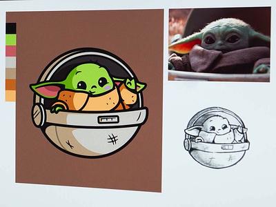 Baby Yoda starwars design master fanart illustration cartoon smile themandalorian star wars movie cute smile joy