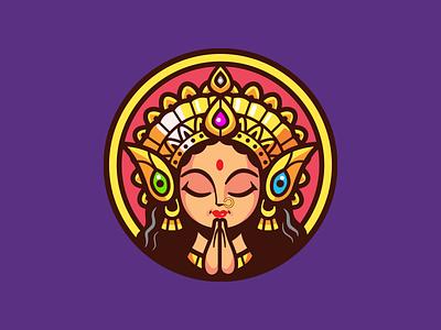 Dharma Academy life lessons strength branding identity durga goddess icon india online brand teach logo illustration school