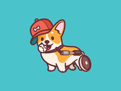 Most Valuable Player fun game baseball player character walking wheels brave smile playful love corgi animal illustration