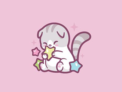 Rice Kitty playful animal cartoon mascot white scottish fold cute smile stars branding nails design kitty cat logo