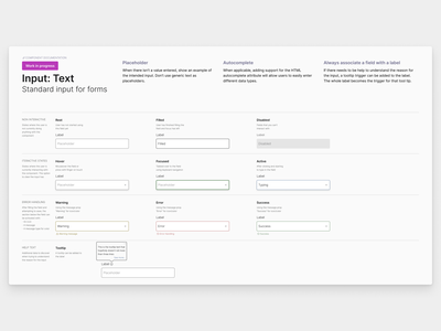 Input examples in the design system for Compass documentation ux design ui design product design design systems design system ux ui
