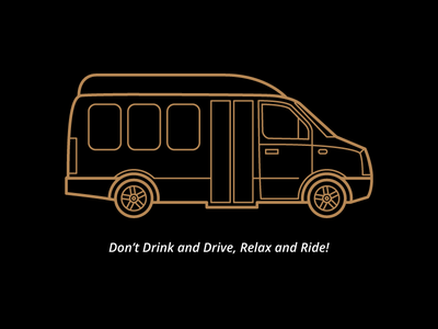 Tour Van Illustration for Luxury Tour Flyer. tour bus bus expensive classy luxury tour van van illustration gold flyer typography