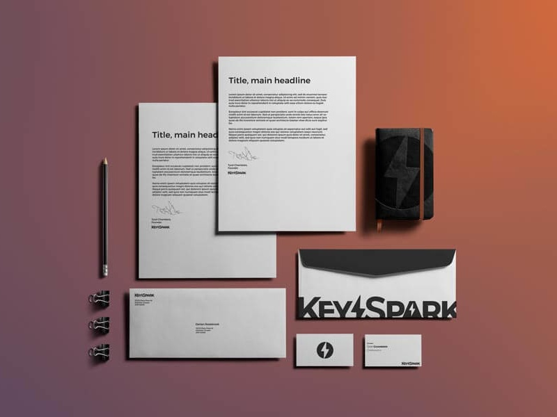 more corporate stationary for the keyspark brand by darian rosebrook