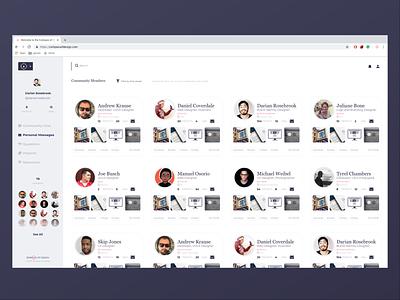 Member list layout app web design ux member ui design ui profile profiles users membership members