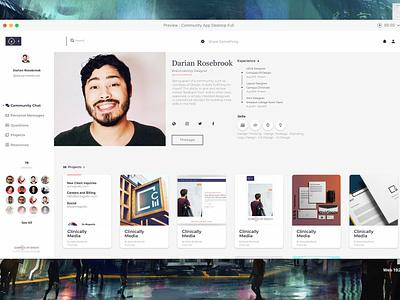 Working on the profile layouts for desktop portfolio site portfolio profile profile page community web app ux design ui design website app web design ux ui