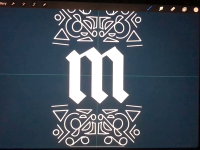 Letter M Monogram art deco typography ipad branding brand logo design logo concept letter black letter logo hand lettering lettering
