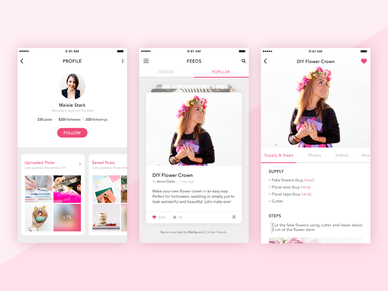 DIY / Craft App interface girl ios ui diy craft app mobile app