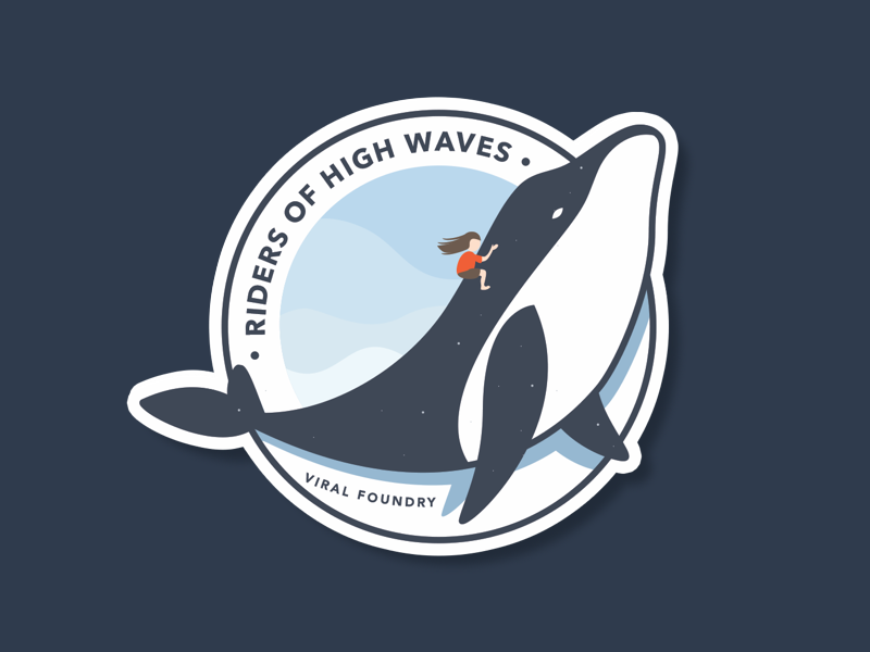 Riders of High Waves Sticker 🐋 blue girl riders of high waves viral foundry whale sticker mule sticker