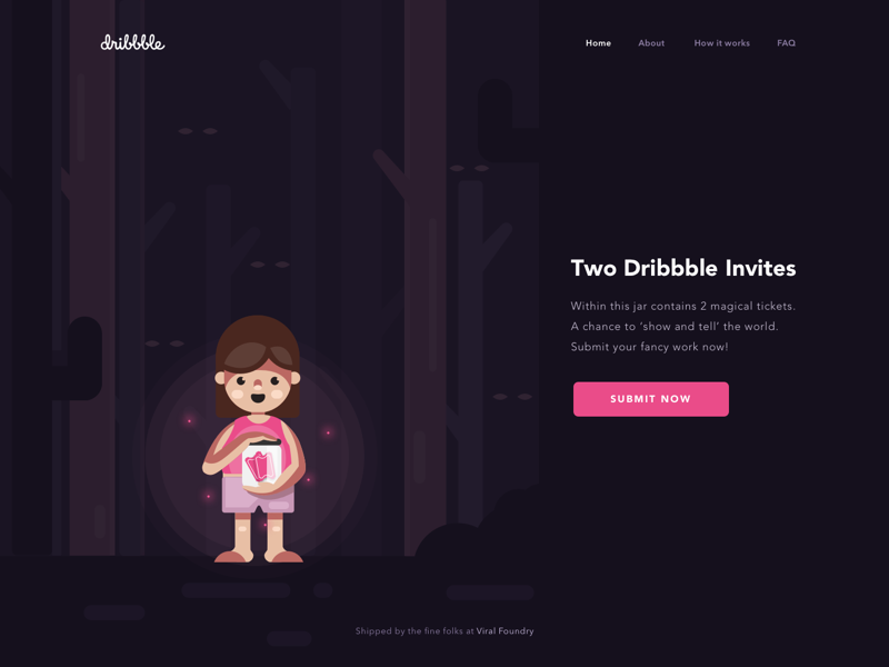Magical Tickets - Two Dribbble Invites ✨ dribbble kingdom magical jungle firefly little girl dark invitation ticket dribbble invite dribbble invitation