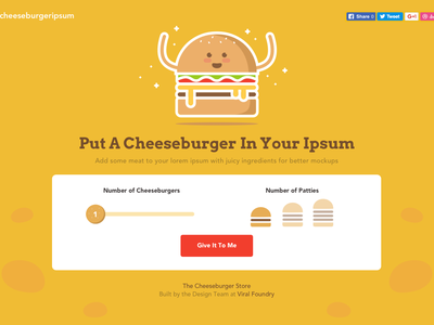 Sink your teeth into these buns with Cheeseburger Ipsum illustration yellow website ux ui user interface cheeseburger lorem ipsum