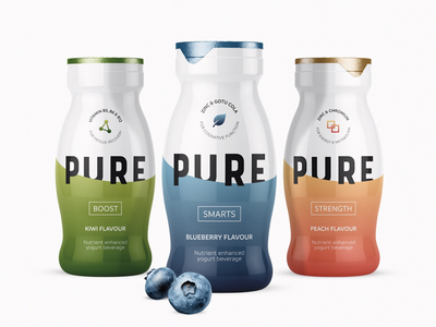 Pure Yoghurt Range vitamin peach kiwi blueberry pure icon branding visual render design packs packaging