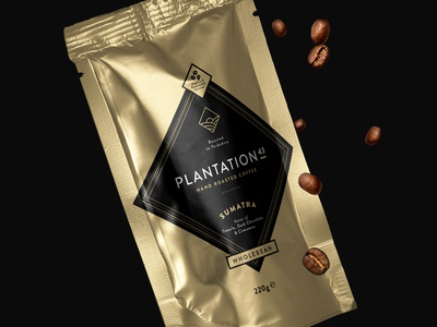 Plantation 43 Coffee Packaging creative design render visual plantation gold packaging beans coffee