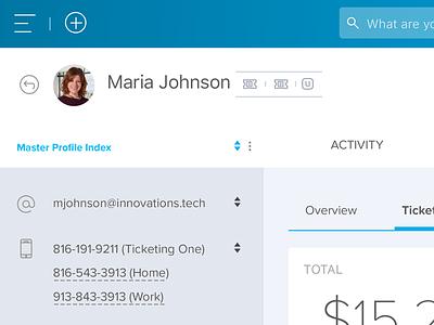 User Profile user interface profile