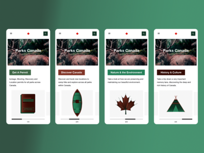 Parks Canada home page (mobile)