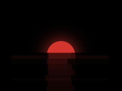 Red Sun over Horizon
