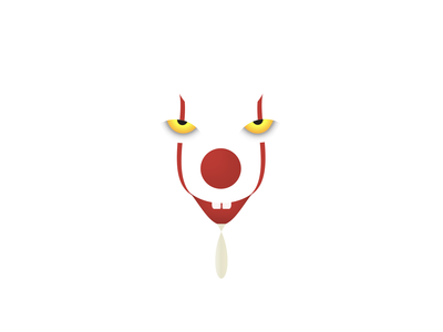 IT Pennywise Clown CSS Illustration White Version
