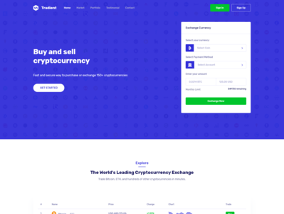 Tradient - Dashboard Landing page