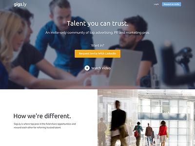 Gigsly Landing Page landing job talent invite