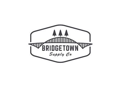 Bridgetown Supply Logo  minimal line logo forest inclosed bridge
