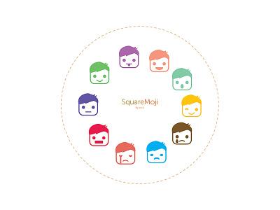 Squaremoji face playful cute colorful square emoji