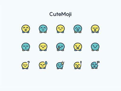 Cutemoji Two Tone face playful colorful round cute emoji