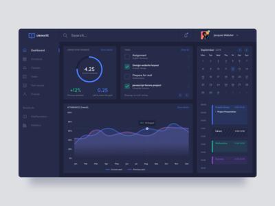 Student platform dashboard concept dark theme